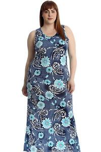 Neue Frauen Übergröße Maxi Kleid Damen Blumen Druck Ärmellos Volle Läng Angebot