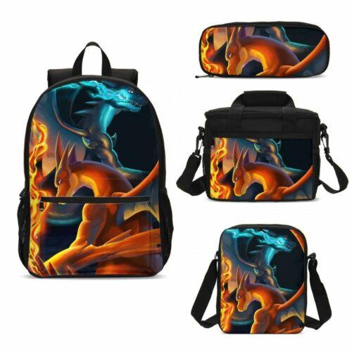Pokemon Kids Backpack Pikachu Schoolbag Lunch Case Shoulder Bag Pen Case Lot
