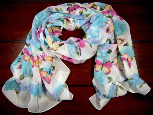 """Chiffon Scarf  60x20/"""" Floral Peonies Turquoise Blue Red Pink Black Gray Gold USA"""