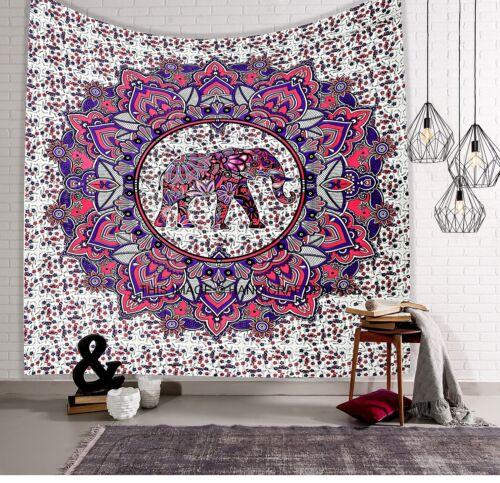 Queen Hippie Tapestries Indian Bohemian Elephant Mandala Wall Hanging Art Throw