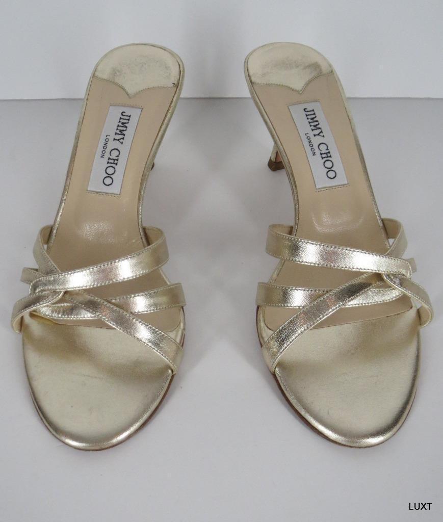 Jimmy Choo Sandals Heels Kitten Slide  595 Sz 7 37 Metallic Gold Leather Strappy