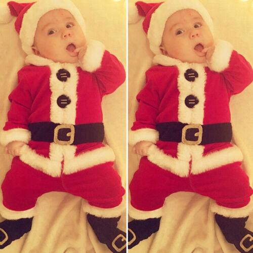 US My First Christmas Kids Baby Boy Girl Santa Tops+Pants 4PCS Xmas Clothes Set