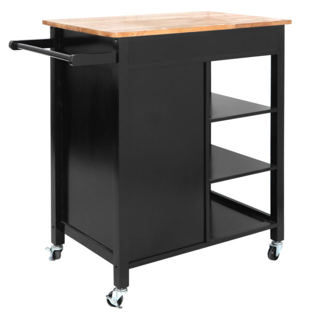 Wood Top Locked Casters Kitchen Island Trolley Home Storage
