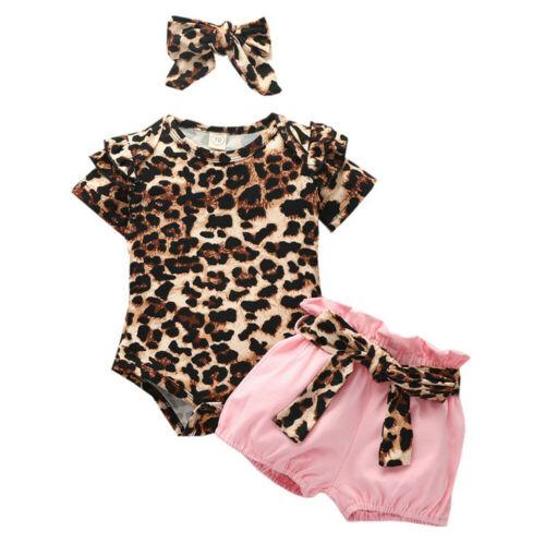 Kid Baby Girl Leopard Romper Bodysuit Shorts Headband Summer Clothes Outfits Set