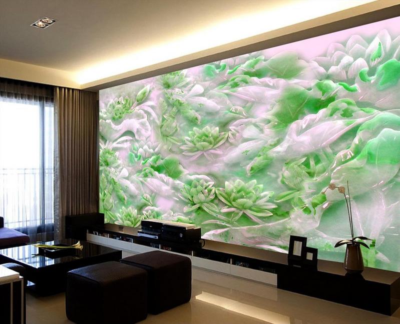 3D Emerald Lotus Teich 744 Tapete Wandgemälde Tapete Tapeten Bild Familie DE