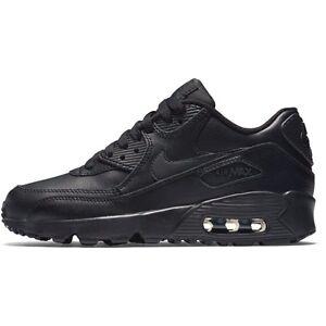 Dettagli su Scarpe da ragazzi Nike Air Max 90 Ltr 833412 001 Nero Pelle Sneakers Sportiva