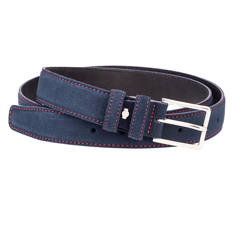Blue Suede Leder Gürtel Rot Herren Gürtel 100% italienischen Leder Nubuck 90 cm