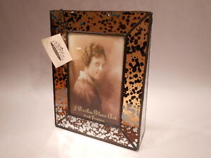 J-Devlin-Glass-Art-Amber-Mercury-Stained-Glass-4x6-Vertical-Picture-Frame