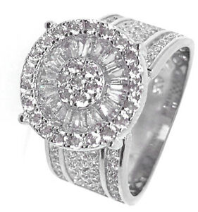 Flower-Big-Top-Ladies-Baguette-amp-Round-Cut-Real-Sterling-Silver-Engagement-Ring