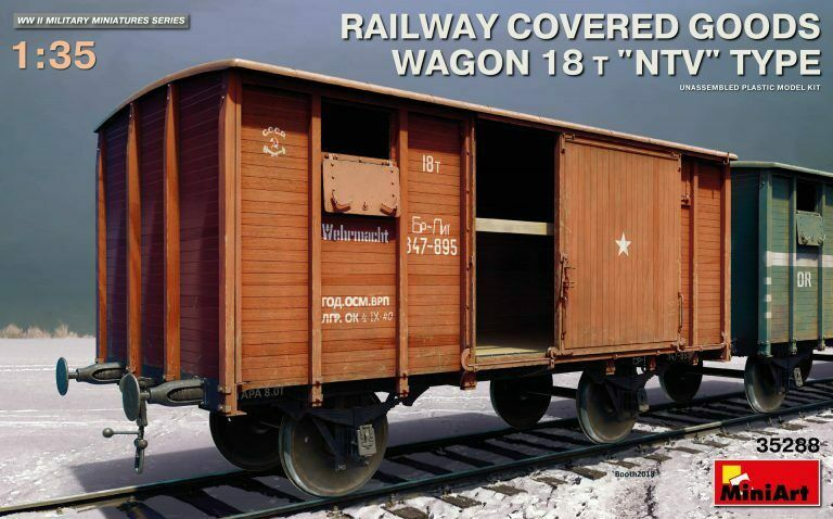 "1 35 MINIART RAILWAY COVERED GOODS WAGON 18t ""NTV"" TYPE"