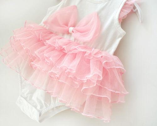 Newborn Infant Baby Girl Princess Tutu Ange Body cadeau robe Outfit Vêtements