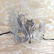 Luxury Silver Elegant Metal Laser Cut Venetian Halloween Masquerade Mask
