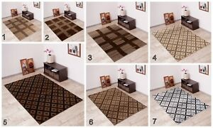 Modern New Area Rug CHECKERED Contemporary Pattern Different Colours and Sizes