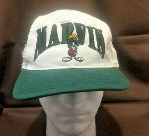 Marvin-Martian-Space-Jam-Hat-Looney-Tunes-Cap-Snapback-White-USA-Vintage-1991