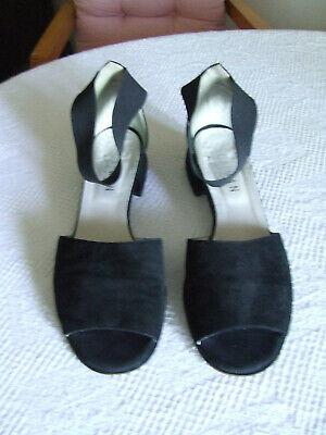 Caiman Schicke Schwarze Leder KnÖchelriemen Sandaletten Gr 41 1/2 Made In Italy