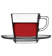 Pasabahce Carre Tea or Coffee Cup & Saucers 215 ml Set of 6