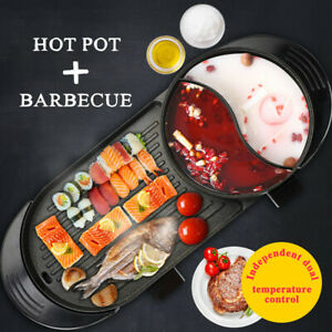 Portable-Electric-2-in-1-Hot-Pot-Barbecue-Grill-Non-Stick-Teppanyaki-Pan-Soup-US