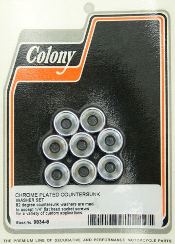 """Countersunk Chrome Washers for 1//4/"""" Flathead Allen 8 per pack Colony 9834-8"""