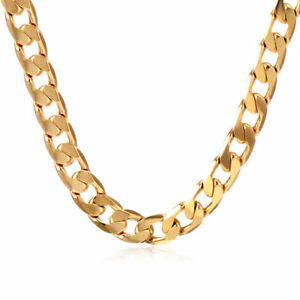 Charm-18K-Yellow-Gold-Filled-Cuban-Link-Chain-Mens-Womens-Long-Necklace-19-7-034