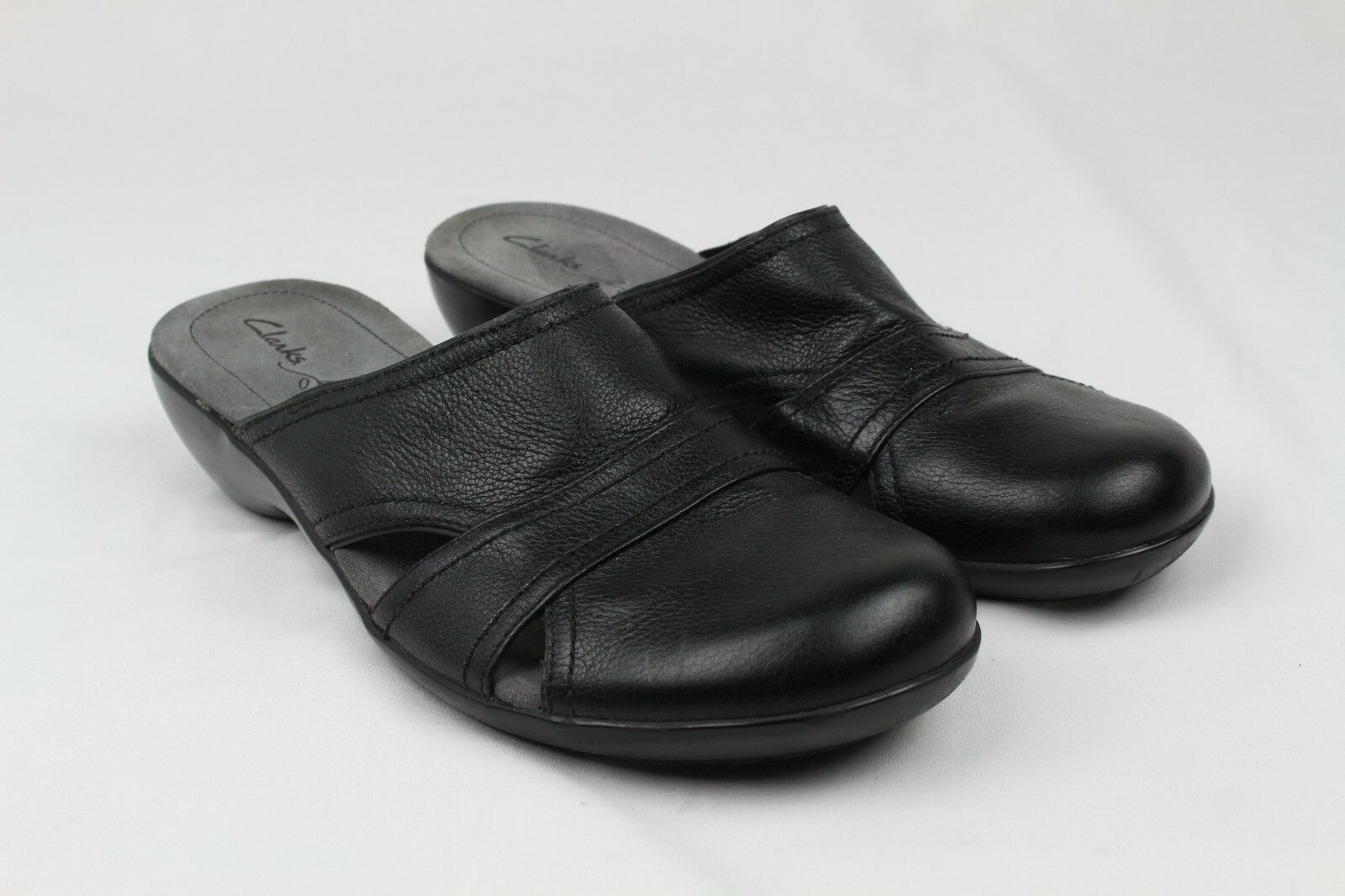 Clarks Doux coussin Noir Sandales Mules Cuir Sabots Taille 10 m (OBO)