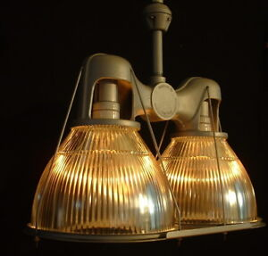 Details About 30s Double Holophane Light Twin Warehouse Vtg Gl Shade Ul Sockets