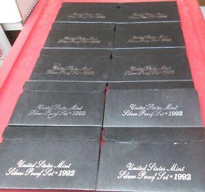1992-1998 U S MINT SILVER PROOF SET BOX AND COA FREE SHIPPING
