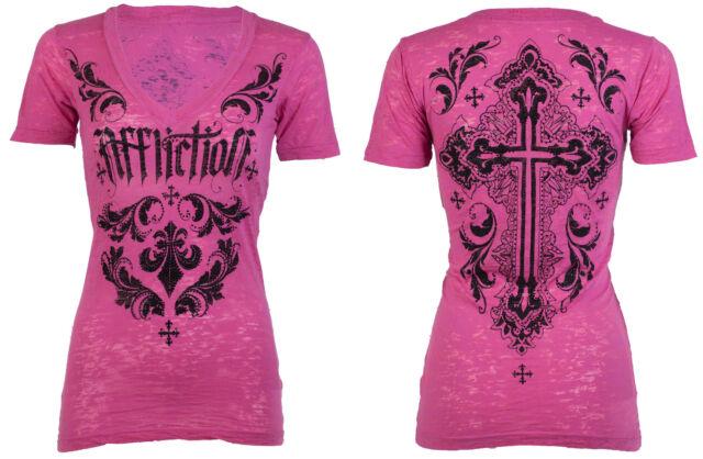 AFFLICTION Womens T-Shirt CHANTILLY Rhinestones Biker UFC Sinful S-XL $58