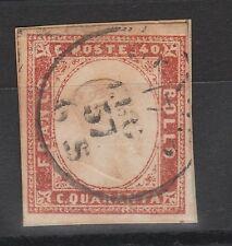 FRANCOBOLLI 1857 SARDEGNA C.40 ROSSO SCARLATTO CHIARO Z/5936