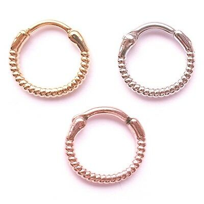 New Surgical Steel Twisted Twist Rope Elegant Nose Septum Clicker Silver 16g 14g