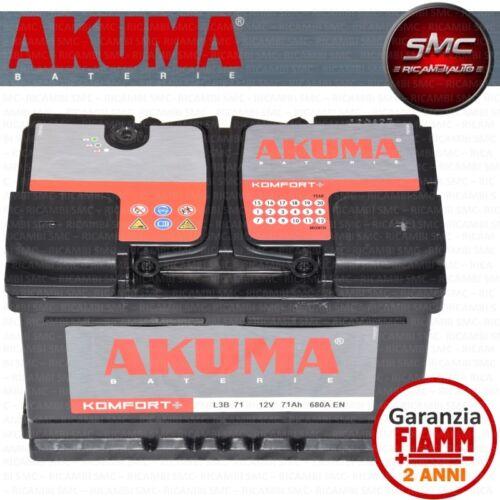 BATTERIA AUTO AKUMA = FIAMM 71 AH 12V 680A EN ORIGINALE NUOVA ALFA 159 2.4 JTDM