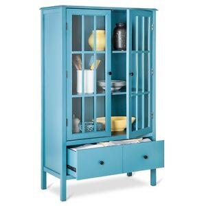 Details About Blue 2 Gl Door Storage Display Cabinet Home Living Room Furniture Office Den