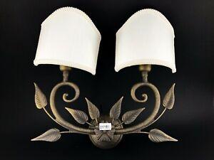 Applique lampada liberty in ottone a due luci con ventola in