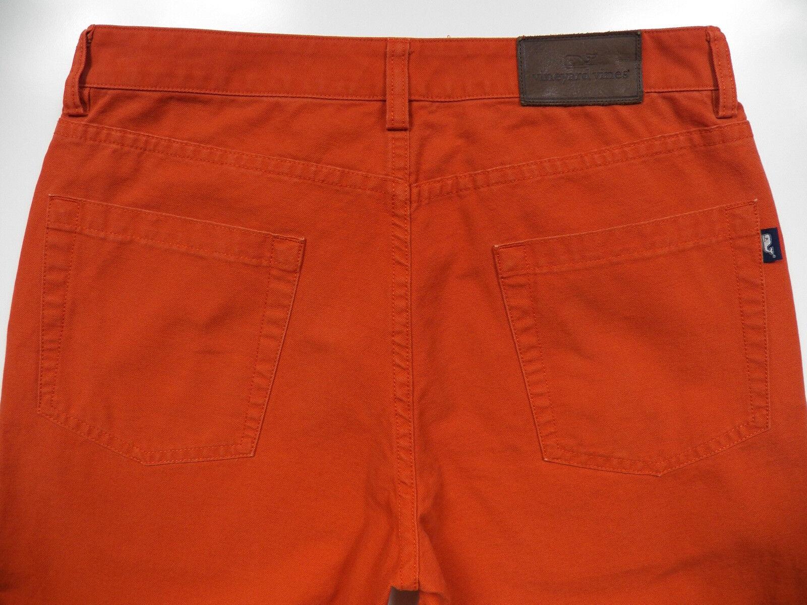 VINEYARD VINES MEN 30 X 32 CASUAL CANVAS PANTS STYLISH orange LEATHER WHALE LOGO