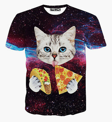 2015 Fashion 3D Print Funny Cat Eating Pizza Women Men T Shirt  Tee Round Top