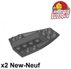 Lego-2x-Wedge-6x4-inverted-curved-coque-bateau-boat-gris-fonce-db-gray-43713-NEW