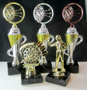1x-3er-Serie-Dart-Pokale-26-5cm-hoch-inkl-Gravur-Beste-Dame-u-High-Finish
