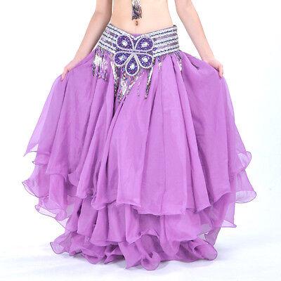 Luxury Three-layer Chiffon Hemming Long Skirt Flamenco Belly Dance 13 colors