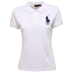 best authentic 3cc52 5249b Details about 9495Z polo donna RALPH LAUREN big pony SKINNY FIT cotton  t-shirt woman