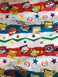 2 Piece Vintage Nickelodeon Rugrats Twin Fitted and Flat Bed Sheet Set 90s Nick Teen Nick Twin Linen Twin Bedding