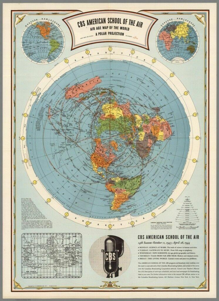 Flat Earth Map   CBS American School Of The Air : Hammond : Map