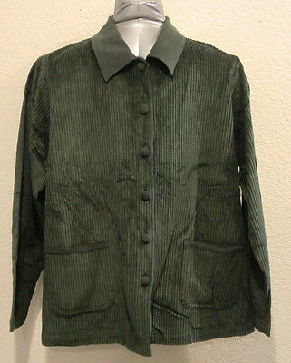 Green Corduroy Jacket Women's Size Large Button Up Cotton Wide-Wale Denim Co