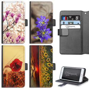 FLOWERS-PHONE-CASE-IPHONE-6-7-8-PLUS-X-LEATHER-FLIP-WALLET-CASE-COVER-FOR-APPLE