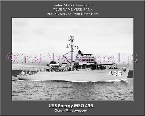 USS Energy MSO 436 Personalized Canvas Ship Photo Print Navy Veteran Gift