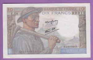 (ref: E.58) 10 Francs Mineur 9/09/1943. (spl+) Of795nn9-07232811-799270845