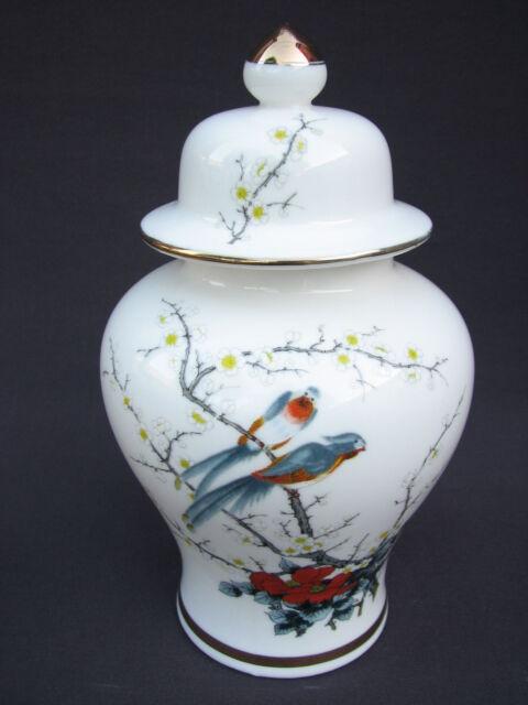 """8"""" Japanese Porcelain Lidded Ginger Jar Birds Prunus Blossoms Flowers Red Stamp"""