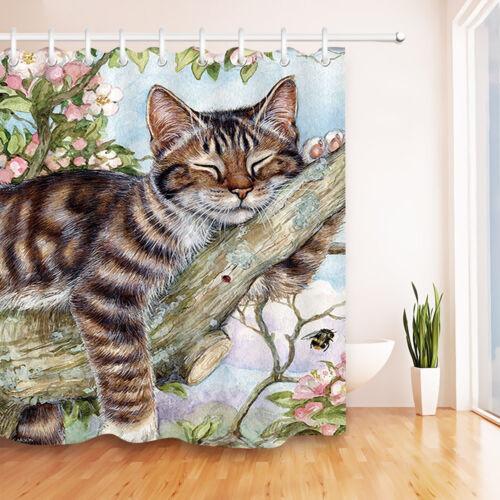 Flowers Tree Branches Sleeping Cat Shower Curtain Set Waterproof Fabric Hooks