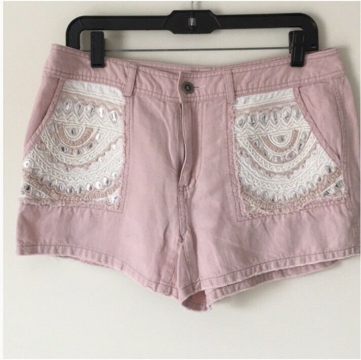 Free People Ipanema Embellished Shorts Mirror Linen Blend FP One 8 (6) Pink