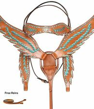 TURQUOISE WESTERN LEATHER BLING HORSE TACK SET LOT HEADSTALL REINS BREAST COLLAR