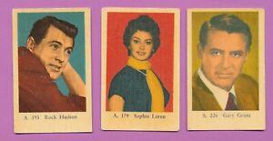 1960-039-s-DUTCH-GUM-MOVIE-CARD-LOT-ROCK-HUDSON-SOPHIA-LOREN-GARY-GRANT-179-193-226