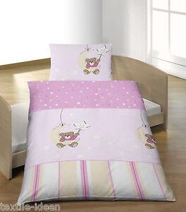 baby bettw sche 100x135 cm gute nacht b r mond hell flieder biber b ware ebay. Black Bedroom Furniture Sets. Home Design Ideas